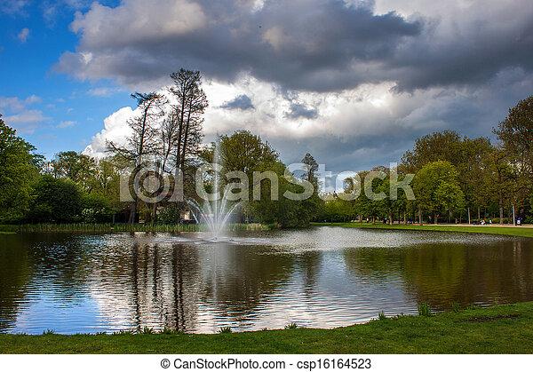 Pond in Vondelpark, Amsterdam - csp16164523