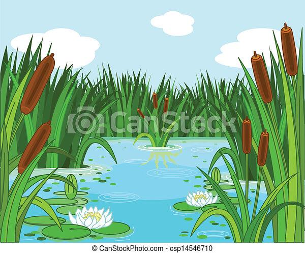 pond scene illustration of a pond scene rh canstockphoto com pond clipart png pond clipart