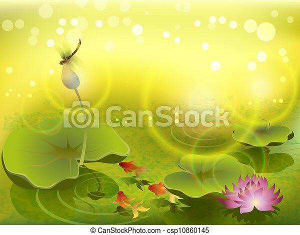 Pond with goldfish - csp10860145