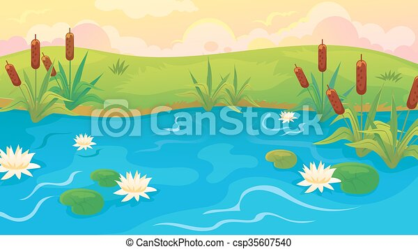 pond with reeds and lilies vector cartoon pond landscape eps rh canstockphoto com clipart panda bear clip art pontoon boat