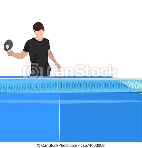 pong, ilustración, vector, ping, jugador, juego, aislado, equipo - csp74068009