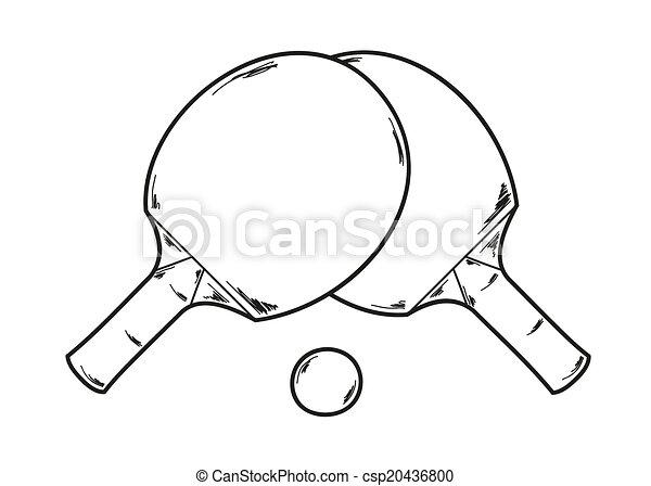 Pong ping deux raquettes croquis ping deux - Dessin raquette ...