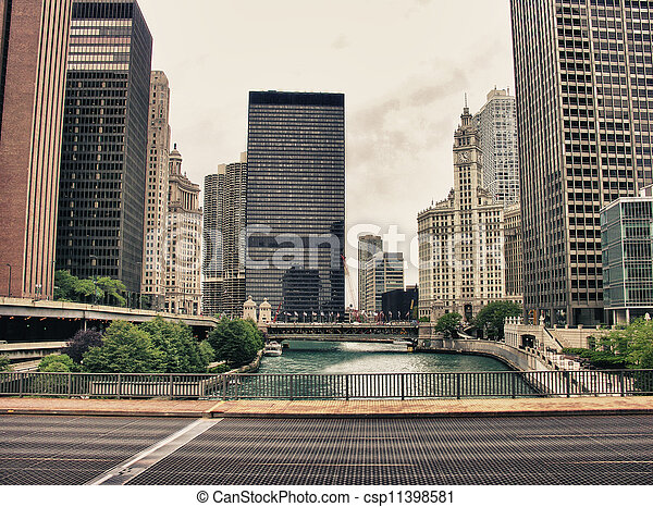 pont, bâtiments, chicago, etats-unis. - csp11398581