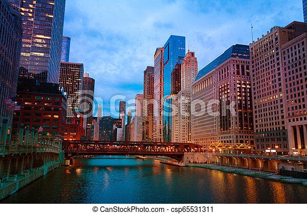 pont, chicago, gratte-ciel, usa, lac, rue - csp65531311