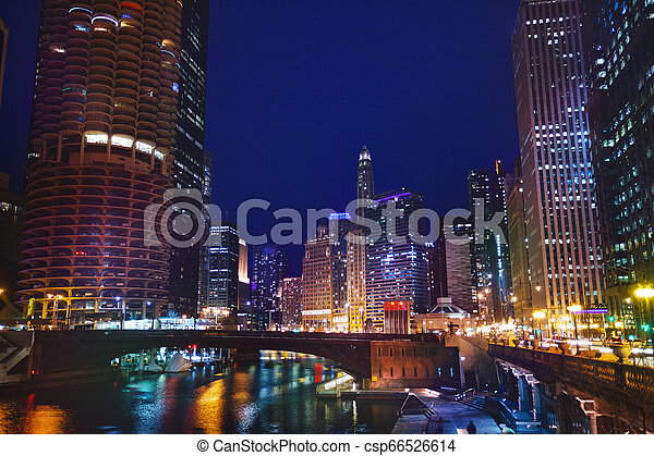 pont, chicago, sur, rue, nuit, dearborn, rivière - csp66526614