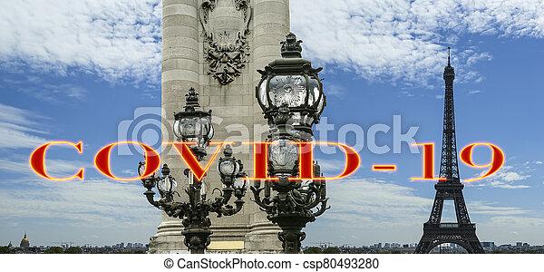 pont, covid-19, paris, concept, signe., iii, voyage, covid, france., europe., alexandre, tour eiffel, coronavirus, pandémie - csp80493280