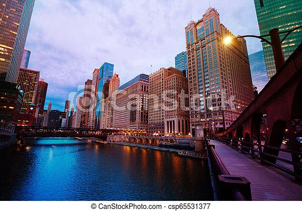 pont, michigan, gratte-ciel, lac, chicago - csp65531377