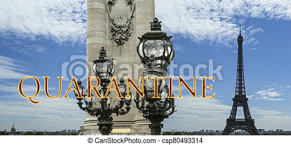 pont, paris, concept, signe., iii, voyage, covid, france., europe., alexandre, eiffel, quarantaine, tour, coronavirus, pandémie - csp80493314