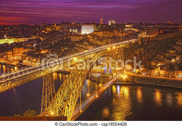 pont, portugal, porto, sur, nuit, douro, luis, rivière - csp18554426