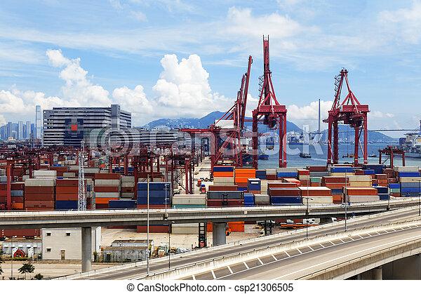 pont, récipient, camion, autoroute, transport - csp21306505