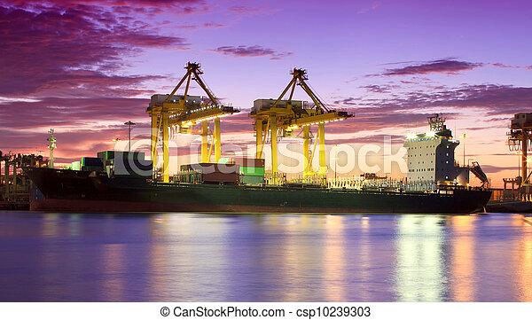 pont, récipient cargaison, fond, fonctionnement, crépuscule, grue, chantier naval, exportation, logistique, importation, bateau fret - csp10239303