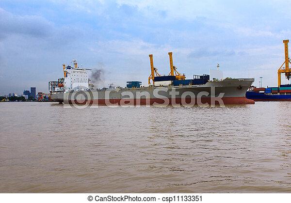 pont, récipient cargaison, fond, fonctionnement, crépuscule, grue, chantier naval, exportation, logistique, importation, bateau fret - csp11133351