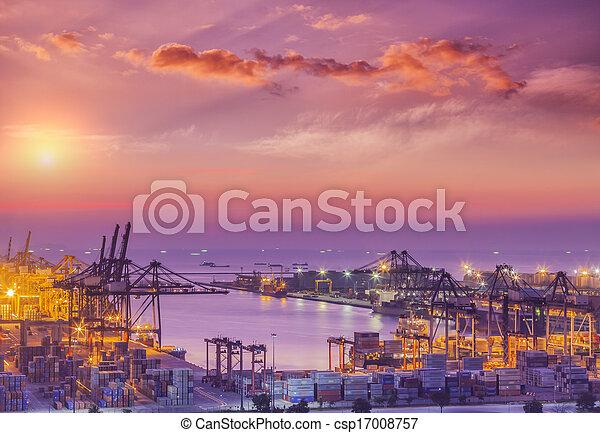 pont, récipient cargaison, fond, fonctionnement, crépuscule, grue, chantier naval, exportation, logistique, importation, bateau fret - csp17008757