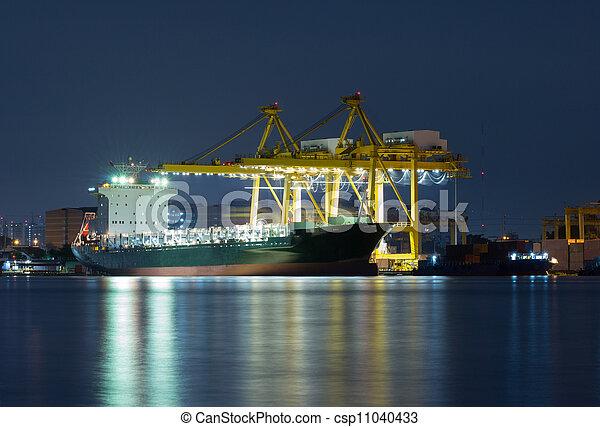 pont, récipient cargaison, fond, fonctionnement, crépuscule, grue, chantier naval, exportation, logistique, importation, fret, rivière, bateau, tout - csp11040433