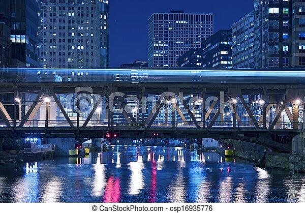 pont, rue, lac, chicago - csp16935776