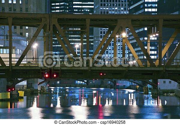 pont, rue, lac, chicago - csp16940258