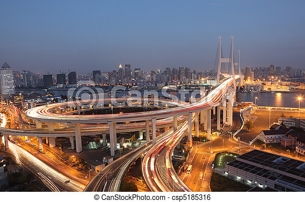 pont, shanghai, porcelaine, night., nanpu - csp5185316