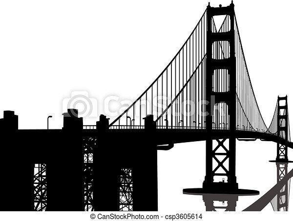 pont, silhouette, portail, doré - csp3605614
