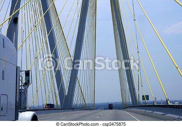 pont, texas, camion, détail, câble - csp3475875