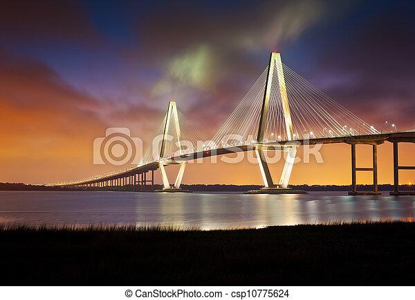 pont, tonnelier, point, ravenel, jr, arthur, patriotes, suspension, sc, charleston, rivière, caroline sud - csp10775624