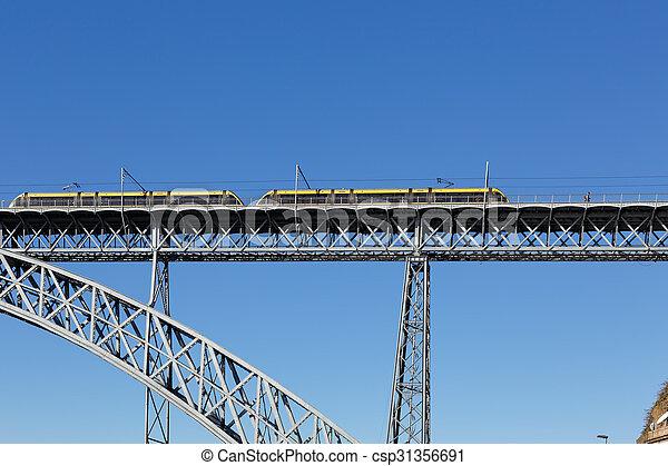 pont, vieux, métro, fer, oporto - csp31356691