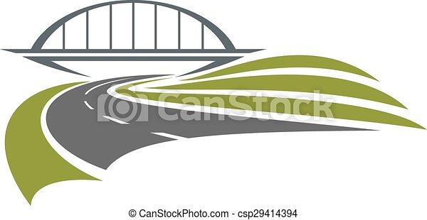 ponte, estrada ferro, estrada, sob - csp29414394