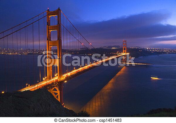 ponte, francisco, san, dorato, california, notte, barche, cancello - csp1451483