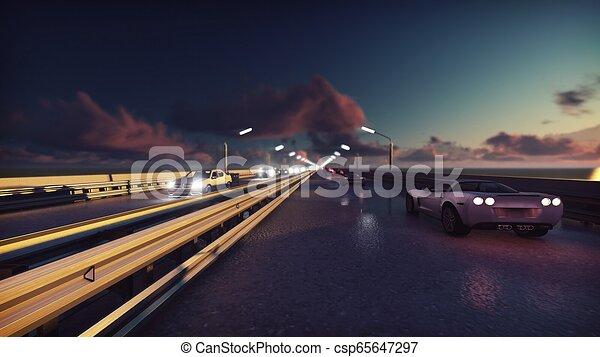 ponte, luci, automobili, sunrise., interpretazione, fondo, notte, andare, traffic., 3d - csp65647297