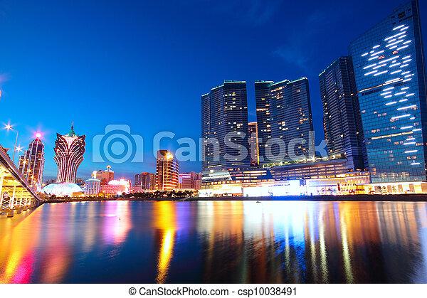 ponte, macao, macao, asia., cityscape, grattacielo - csp10038491