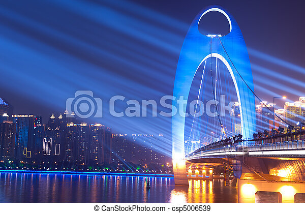 ponte, notte, macchia, scena, luce - csp5006539