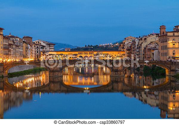 Ponte Santa Trinita bridge over the Arno River, Florence - csp33860797