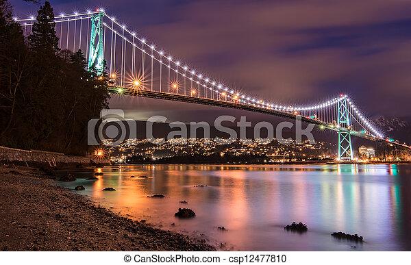 ponte, vancouver, leoni, cancello, notte - csp12477810