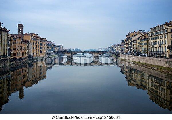 Ponte Vecchio bridge in Florence, Italy. - csp12456664