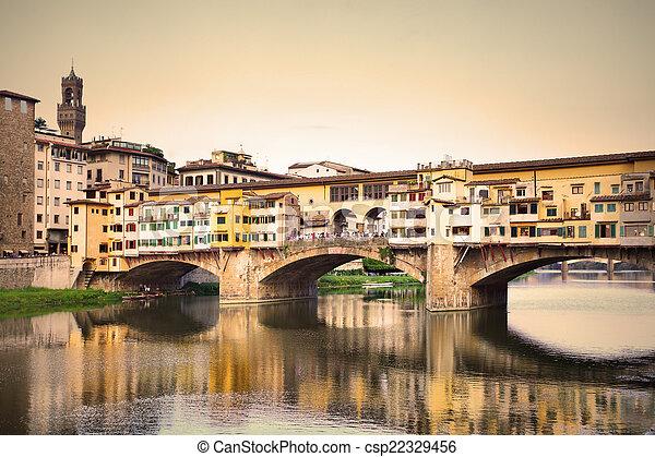 Ponte Vecchio bridge in Florence - csp22329456