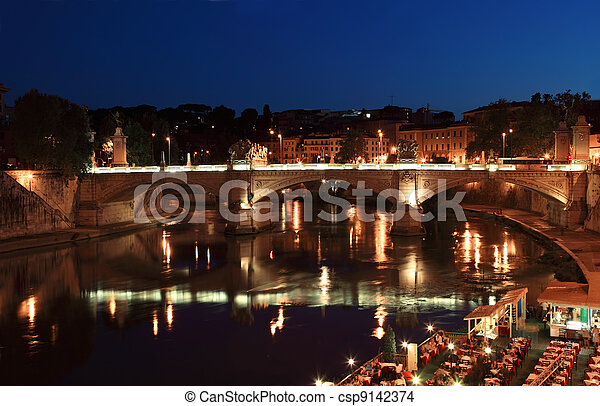 Ponte Vittorio Emanuele II at night in Rome, Italy. beautiful old sculptures and lanterns - csp9142374