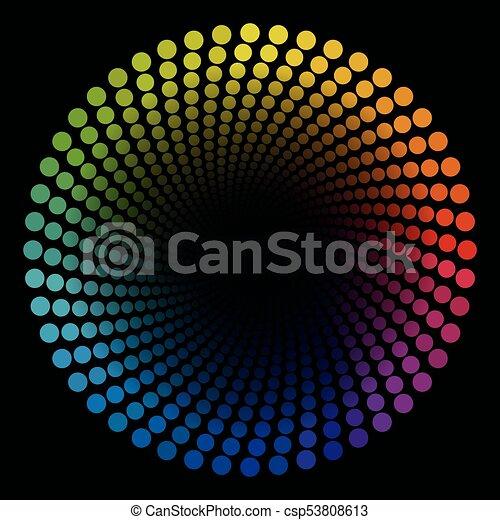 pontos, colorido, padrão, tubo, espiral, terminando, pretas, circular - csp53808613