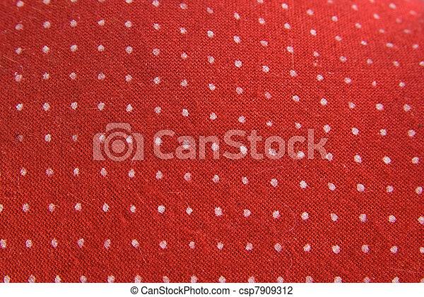 pontos, vindima, branca, tecido, vermelho - csp7909312