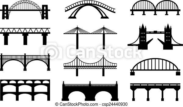 ponts, silhouettes, vecteur, icônes - csp24440930