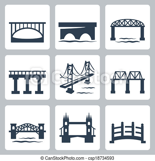 ponts, vecteur, ensemble, isolé, icônes - csp18734593