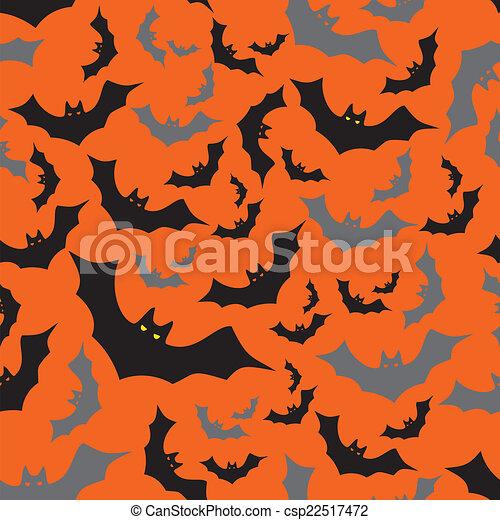 ponurý, netopýr, eps10, model, předvečer všech svatých, seamless, podzim, pomeranč - csp22517472