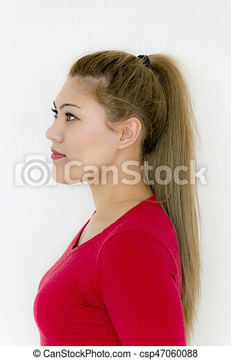 Ponytail Hairstyle. Beauty Fashion Model Girl with Long Healthy Straight Brown Hair - csp47060088