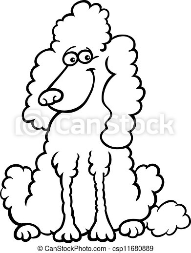 poodle dog cartoon for coloring book - csp11680889