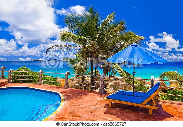Pool at tropical beach - csp5065727