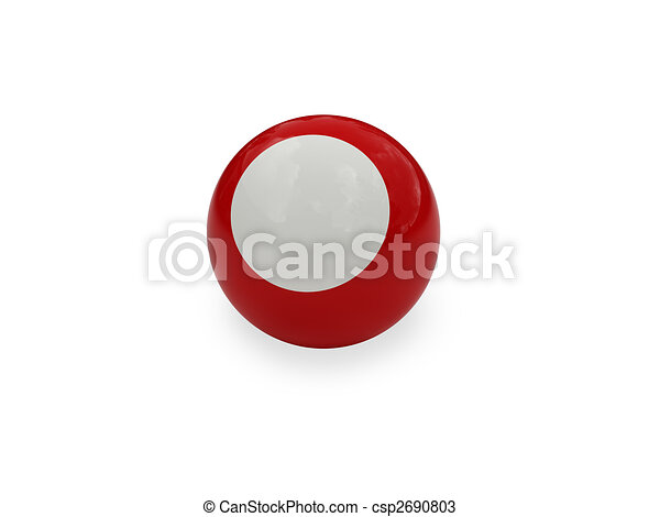 Pool ball white red isolated - csp2690803