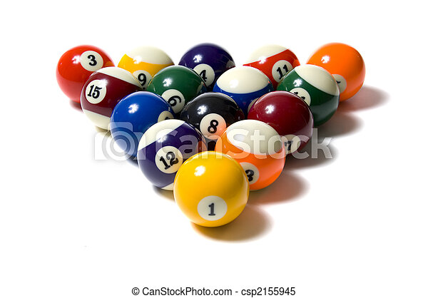 Pool balls on White - csp2155945