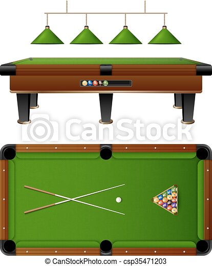 Pool Billiard Table And Furniture Set - csp35471203  sc 1 st  Can Stock Photo & Pool billiard table and furniture set with cue multi colored ...