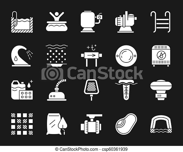 pool equipment white silhouette icons vector set. swimming pool equipment  silhouette icons set. isolated sign kit of   canstock  can stock photo
