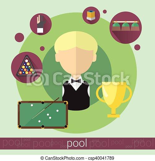 Pool Game Player Boy Billiards Icon - csp40041789