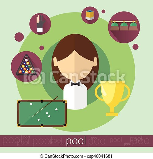 Pool Game Player Young Girl Billiards Icon - csp40041681