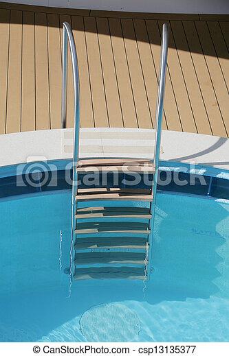 Pool ladder and swimming pool - csp13135377